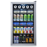 NewAir 19 in. 126 (12 oz) Can Freestanding Beverage Cooler Fridge Chills Down to 34 with Adjustable Shelves - Stainless Steel