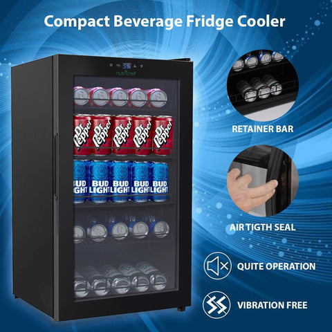 NutriChef 132-Can Capacity Compact Beverage Fridge Cooler - Can Beverage Chiller Refrigerator