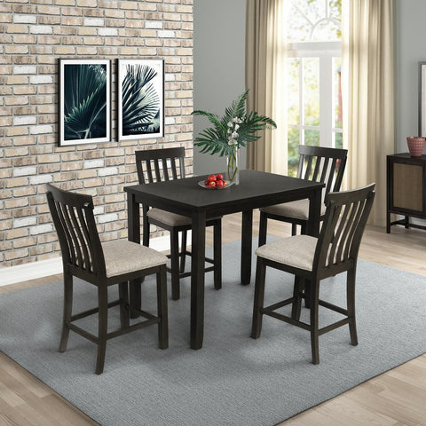 Oak 5-Piece Counter Height Dining Set with Upholstered Seat and Footrest