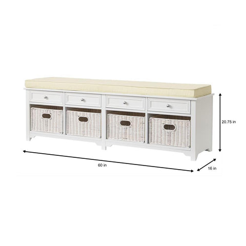 Oxford White 4-Basket Storage Bench