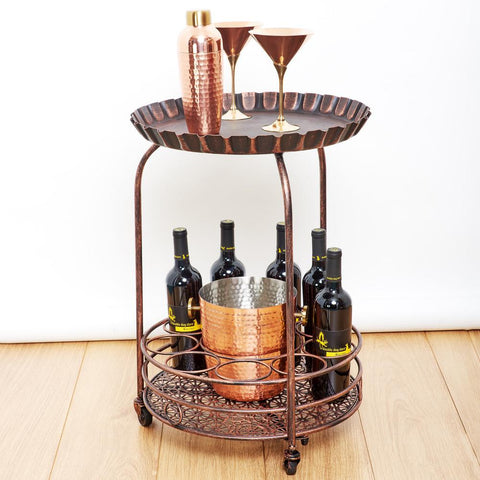 Pop 17 in. x 25.5 in. Antique Copper Wine Serving Cart