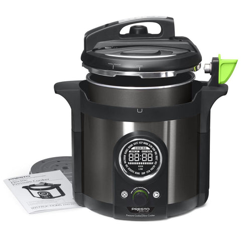 Precise Plus 6 Qt. Black Stainless Steel Electric Pressure Cooker with Built-In Timer
