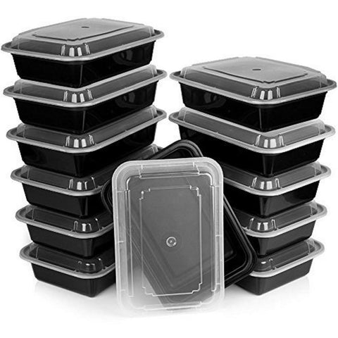 Premium Plastic Meal Prep Containers with Lids (12-Pack)