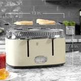 Retro Style 4-Slice Cream Stainless Steel Toaster with Built-In Timer