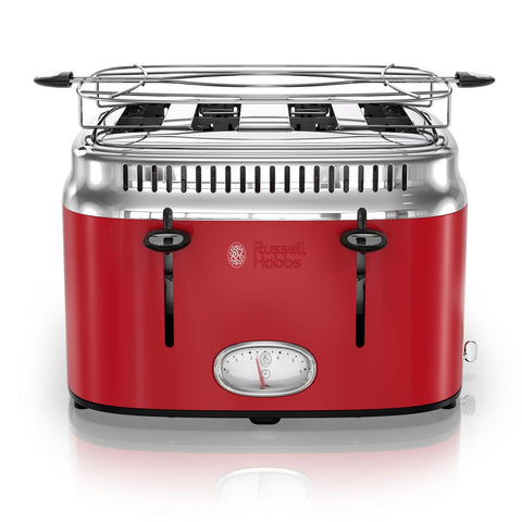 Retro Style 4-Slice Red Stainless Steel Toaster with Built-In Timer