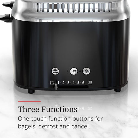 Retro Style 4-Slice Black Stainless Steel Toaster with Built-In Timer