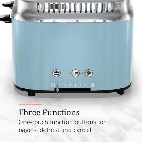 Retro Style 4-Slice Heavenly Blue and Stainless Steel Toaster with Built-In Timer