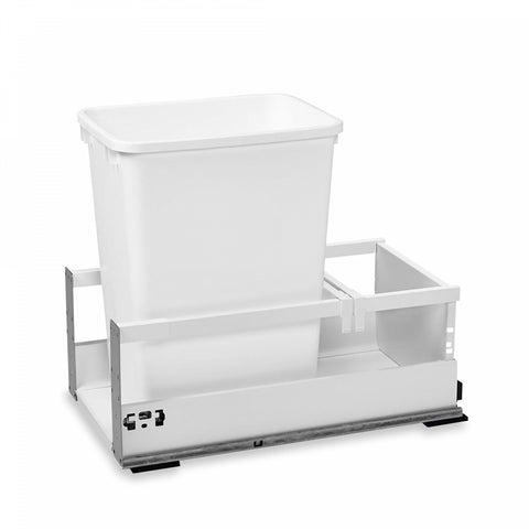 Rev-A-Shelf Single White Pull-Out Wood Bottom Mount Waste Container