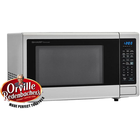 Sharp Carousel 1.4 cu. ft. Countertop Microwave in Brushed Stainless Steel with Orville Redenbacher's Popcorn Preset