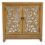 Shelly Assembled 32 in. x 32 in. x 14 in. Ashwood Vener Wood Glass Sideboard Storage with 2 Doors
