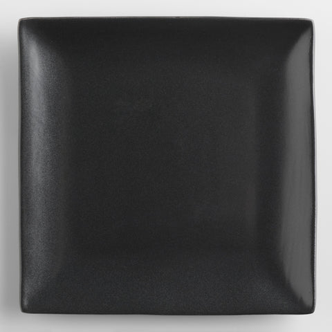 Square Black Trilogy Salad Plates, Set of 4
