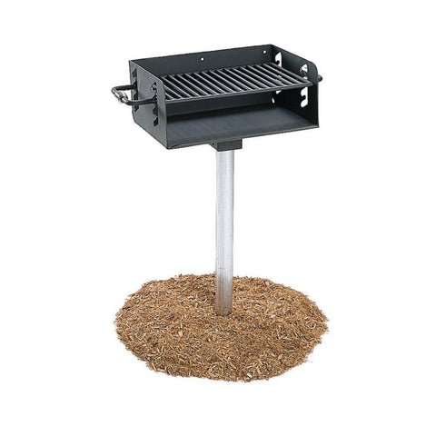 Ultra Play 3-1/2 in. Rotating Pedestal Commercial Park Charcoal Grill with Post in Black