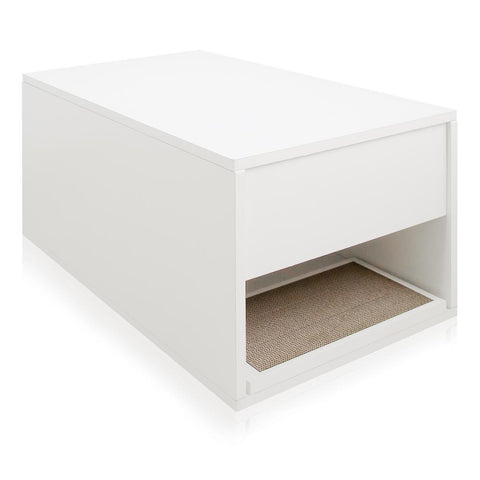 Way Basics Eco zBoard White Modern Cat Litter Box Enclosure and Side Table