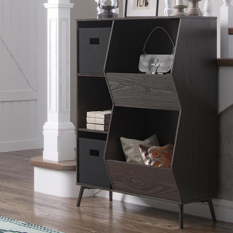 Weathered Brownish/Gray Woodbury Storage Cabinet with Cubbies and Veggie Bins
