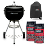 Weber 18 in. Original Kettle Charcoal Grill in Black Combo with Grill Cover and 2 Bags of Weber Charcoal Briquettes