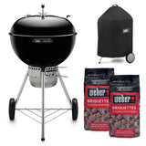Weber 22 in. Master Touch Charcoal Grill in Black Combo with Grill Cover and 2-Bags of Weber Briquettes