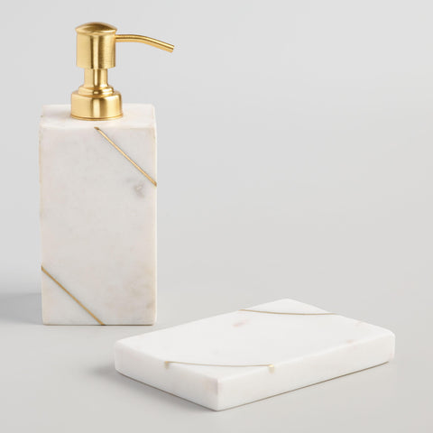 White Marble and Gold Soap Dish
