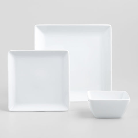 White Square coupe Dinner Plates, set of 4