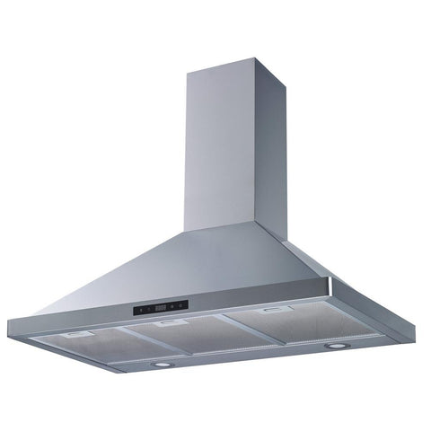 Winflo 36 in. 520 CFM Convertible Wall Mount Range Hood in Stainless Steel with Mesh Filters and Touch Sensor Control