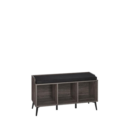 Woodbury Weathered Wood Storage Bench with Cubbies