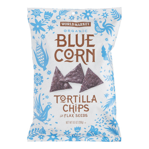 World Market Blue Corn and Flaxseed Tortilla Chips Set of 12