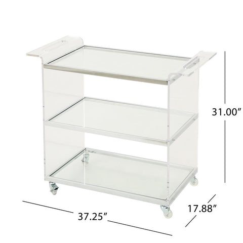 Yves Clear Glass 3-Tier Bar Trolley with Acrylic and Metal Frame