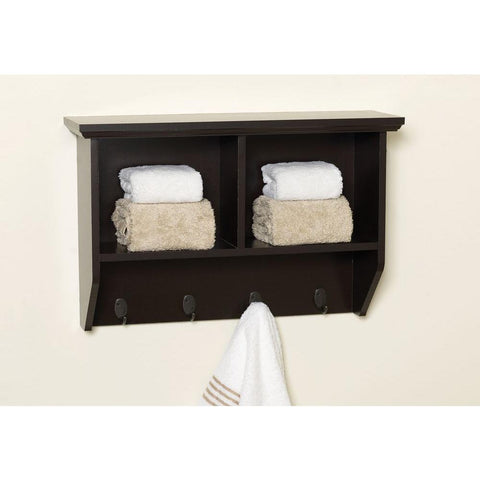 Zenna Home Collette 23 in. W Wall Cubby Shelf in Espresso