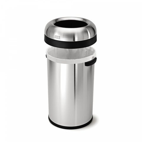 simplehuman Brushed Stainless Steel Bullet Open 80-Liter Trash Can