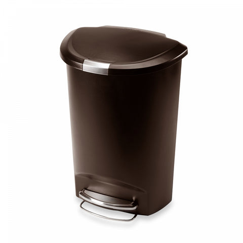 simplehuman Plastic Semi-Round 50-Liter Step-On Trash Can