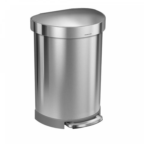 simplehuman Semi-Round 60-Liter Step-On Trash Can with Liner Rim