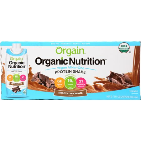 Orgain Organic Vegan Protein Shake, Smooth Chocolate, 16g Protein, 12 Ct