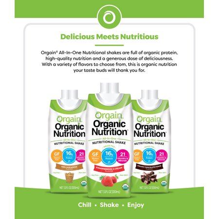 Orgain Organic Nutrition Shake, Chocolate, 16g Protein, 12 Ct