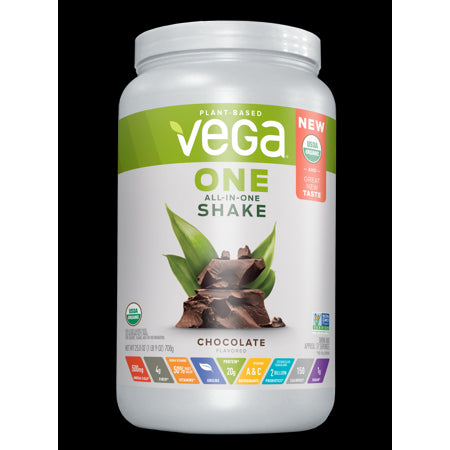 Vega One Organic All-in-One Plant Protein Powder, Chocolate, 20g Protein, 1.6lb, 25.0oz