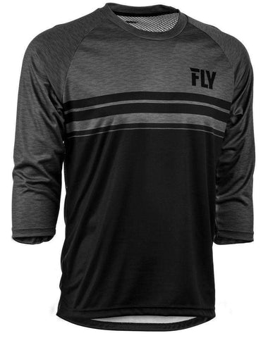 Fly Racing Hemd Ripa 3/4 schwarz-heather-charcoal-grau