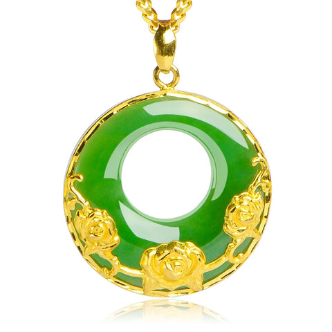 "Green Jade""Good Luck"" Butterfly Pendant Necklace in 18k Gold Over Sterling"