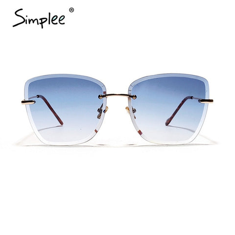Simplee Sreetwear rimless women sunglasses Hollow out square gradual change eyewear Summer holiday casual ladies fashion glasses