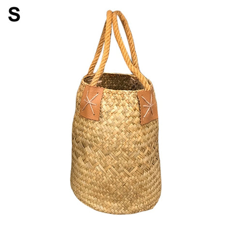 1 Pc Natural Woven Seaweed Shopping Basket Nordic Fruit Gardening Laundry Storage Basket Flower Pot With Handle Home Storage Bag