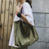 Women Big Canvas Shopping Bag Reusable Soild Extra Large Tote Grocery Bag Eco Environmental Shopper Shoulder Bags For Young Girl