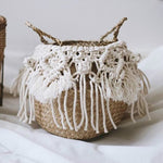 Macrame Tassel Wicker Basket Handmade Boho Decor Garden Flower Pots Study Room Storage Rattan Basket Home Organizer Woven Basket