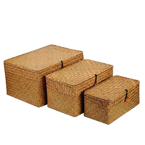 Woven Wicker Storage Bins Basket Sets for Shelves, Set Of 3 Different Sizes, Multipurpose Container with Lid