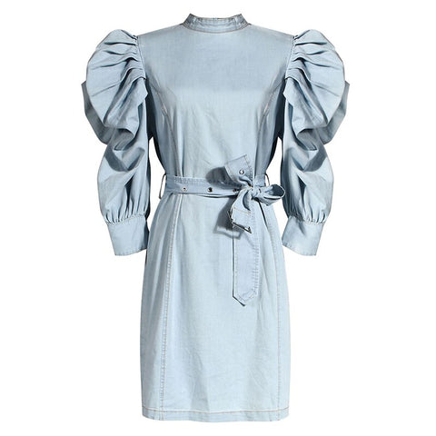 Women's Puff Sleeve Cotton Denim Dress