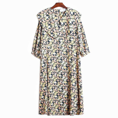 Peter Pan Collar Midi Dress New