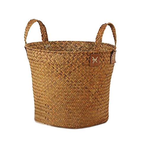 Natural Round Straw Basket Bin Handmade with Handgrip Orange 33X21X26cm