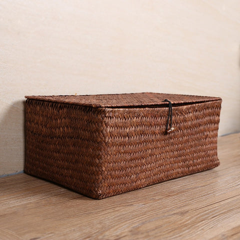 Brand New Manual Woven Seagrass Storage Basket Lid Debris Consolidation Storage Box Storage Basket Sorting Box Jewelry Box