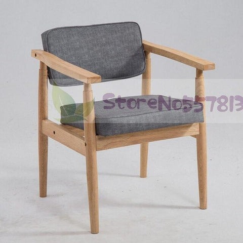 Solid wood retro old beige chair European style armrest cafe restaurant dining  study leisure
