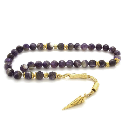 Tarnish Metal Gold Tasseled Globe Cut Amethyst Natural Stone Rosary | muslim | necklace | bracelet | tree | natural stones