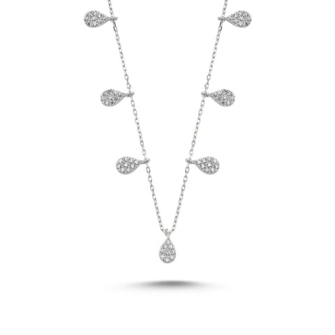 Silver 925 Sterling Zircon Cubic Zirconia Dangle Drop Necklace