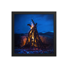 Load image into Gallery viewer, Crackling Camp Fire - Framed poster