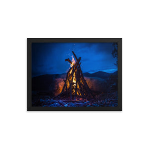 Crackling Camp Fire - Framed poster