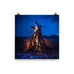 Crackling Camp Fire - Photo paper poster